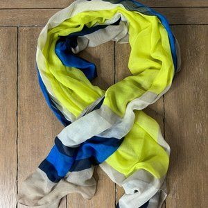 NEON GREEN, ROYAL BLUE AND NEUTRAL COLORED SCARF